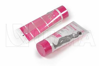 Depilatzeko krema tuboak gehi espatulak poliolefina filmez poltsaratuta eta erretraktilatuta