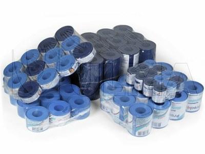 Esparatrapu bilkarien multzoak dentsitate baxuko polietileno film atzeragarriz ontziratuta (LDPE)